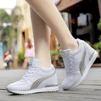 Fashion Women Casual Shoes Hidden Wedges Women Canvas Shoes LadiesPlatform Trainers High Top Boots Inner Heightening Heels Shoes (White )