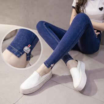 Fat mm spring high waist stretch slim fit denim leggings outer wear Plus-sized long pants Slimming effect feet pants 200 kg (Dark blue slit section 7122)