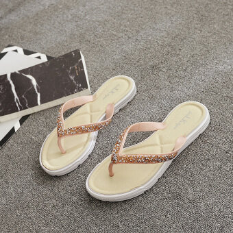 Female New style flat flip outer wear non-slip Summer out sandals (Beige) (Beige)