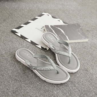 Female New style flat flip outer wear non-slip Summer out sandals (Gray) (Gray)