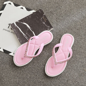 Female New style flat flip outer wear non-slip Summer out sandals (Pink) (Pink)