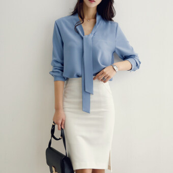 Female New style long-sleeved white shirt chiffon shirt (Sky blue) (Sky blue)