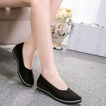 Female with slope Comfortable Soft Work shoes Beauty Dance Canvasshoes Black