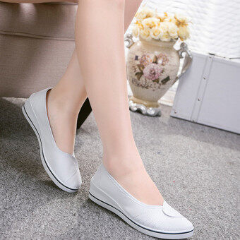 Female with slope Comfortable Soft Work shoes Beauty Dance Canvasshoes White