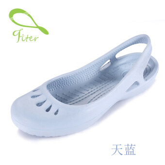 FITER2017 slip us Lindi with flat hole shoes Female Summer Baotou sandals plastic sandals student beach shoes (Sky blue color)