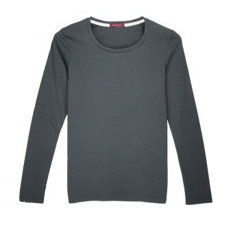 F.O.S NAVY & NAVY WOMEN'S BASIC GREY LONG SLEEVED TEE