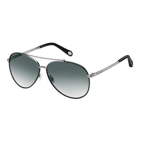 Fossil Fos2000ls Aviator Sunglasses, Dark Ruthenium/Gray Gradient, 60 mm