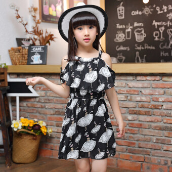 Girls New style chiffon strap children's dress (Beautiful chiffon dress black) (Beautiful chiffon dress black)