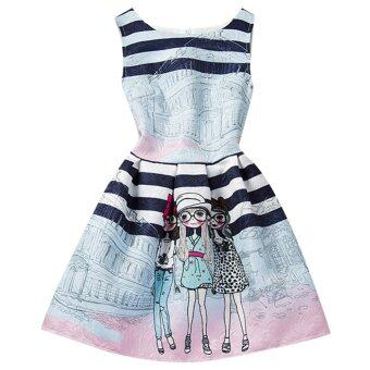Girls Summer Style Sleeveless Printed Dress