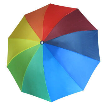Good quality Folding three fold anti-UV solid color umbrella(Rainbow colored) (Rainbow colored)