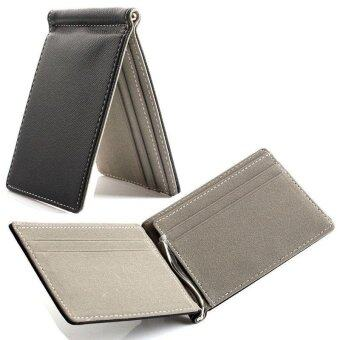 Grey Men's Leather Bifold Credit Card Holder Wallet Money Clip SlimPurse Handbag