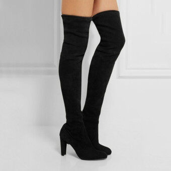 HengSong Women Fashion Solid High Heel Suede Knee Long Boots Black