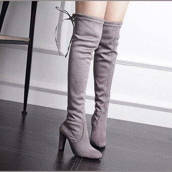 HengSong Women Fashion Solid High Heel Suede Knee Long Boots Grey