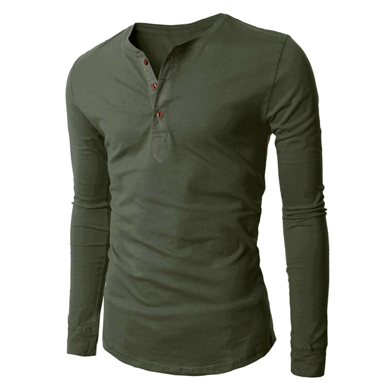 Hequ Mens 3 Button Long Sleeve T-shirt (Army Green) | Lazada Malaysia