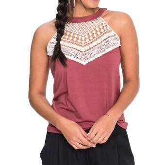 Hequ Summer Lace Vest Top Sleeveless Blouse Casual Tank TopsT-Shirt Hotpink
