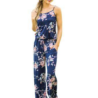 Hequ Women Summer Fashion Boho Floral Print Overalls BacklessBodysuit Women Jumpsuit Romper Club Playsuit Blue