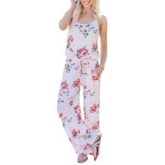 Hequ Women Summer Fashion Boho Floral Print Overalls BacklessBodysuit Women Jumpsuit Romper Club Playsuit White