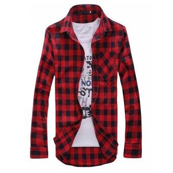 Hot Sale Men's Plaid Shirts Fashion Long Sleeve Slim Fit Cotton Shirt Men's Shirt (Red)