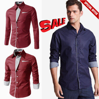 HOT SALE?***High Quality 2017 New Casual Shirts Long-Sleeved Men's Shirt Business Casual Slim Fit Male Shirt Clothes***? (Red)
