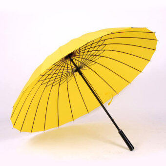 Huge Wind-Proof 24-Bone Straight Colorful Outdoor Umbrella (24 bone yellow)