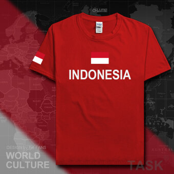 Indonesia football cotton T-shirt short sleeved men jersey (Short sleeved red)