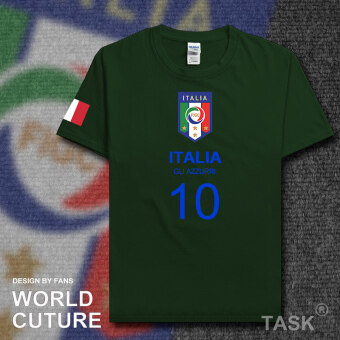 Italy Cotton Short sleeved men football clothes T-shirt (Short sleeved ForestGreen Blue Word)