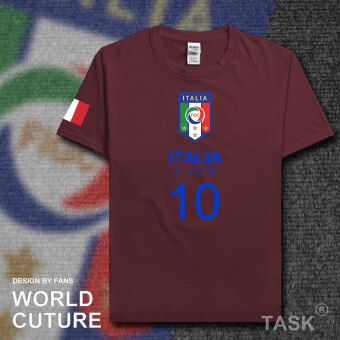 Italy Cotton Short sleeved men football clothes T-shirt (Short sleeved maroon Blue Word)