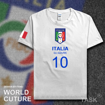 Italy Cotton Short sleeved men football clothes T-shirt (Short sleeved white blue word)