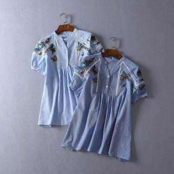 Japanese-style embroidered industrial short sleeved doll shirt (Light-colored)
