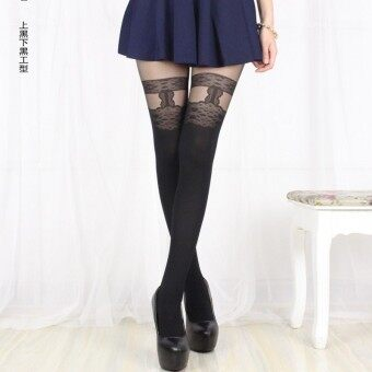 Japanese-style Swan Velvet over-the-knee anti-bottoming pantyhose stockings (Work type * on black under black) (Work type * on black under black)