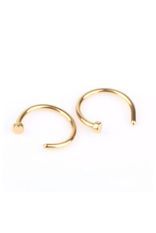 Jetting Buy 2PCS Stainless Steel Nose Open Hoop Ring Earring StudsGold