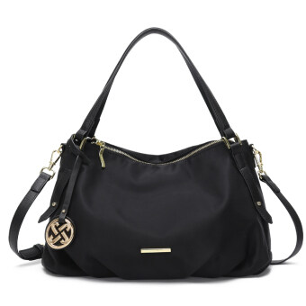 JIANXIU simple Oxford Cloth middle-aged women's big bag nylon women's bag (Black)