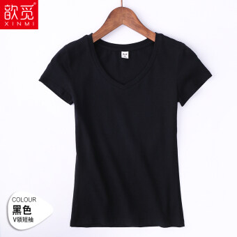 Jianyue white women's short sleeved Slim fit LOOESN Top v-neck t-shirt (Black)