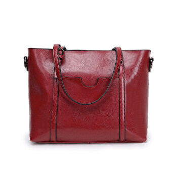 Jianyue women's large capacity handbag large bag (Red [Collection product to send clutch bag card holder])