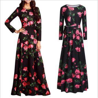 JVIVI 2017 women Maxi plus size Elegant dresses Summer New StyleO-neck Printed Flower Black Party Dress Female Floral Maxi LongDress For Beach Holiday