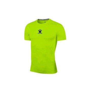 Kelme K15Z731 Men Quick-drying Unitard Pro Thin Short Sleeve High-elastic Wicking Gym Sport T-shirt Straitjacket (Fluorescent Green)