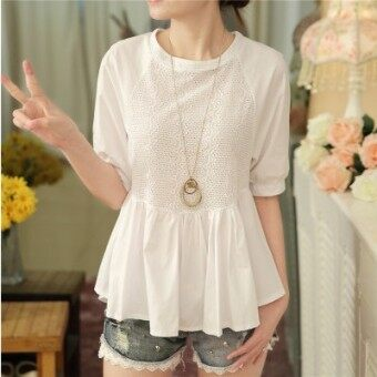 Korean-style chiffon female hedging Top short-sleeved shirt