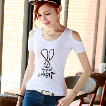 Korean-style cotton v-neck wild short-sleeved t-shirt T-shirt([Round] white rabbit)