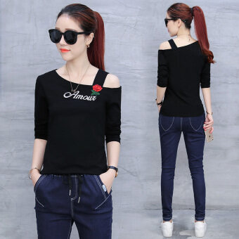 Korean-style embroidered women's short sleeved slimming Top T-shirt (Black (long sleeves))