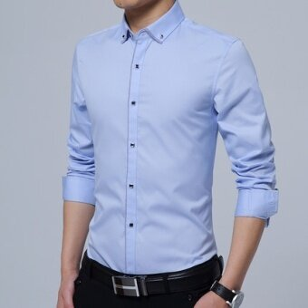 Korean-style long-sleeved thin Slim fit shirt men's shirt (Sky Blue long-sleeved)