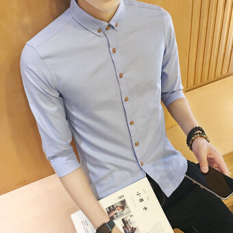 Korean-style men's short sleeved New style autumn shirt white shirt (Sky blue color)
