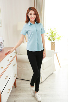 Korean-style new New style short sleeved shirt (Sky blue color)