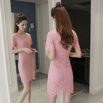 Korean-style New style elegant mid-length dress (Pink) (Pink)