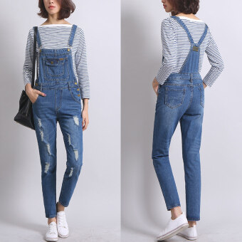 Korean Style Slim Denim Ankle-Length Rompers and Jumpsuits PreppyStudents Elegant Suspenders Jeans Overalls Casual Simply Apparel