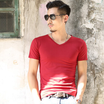 Korean-style solid color summer men's short sleeved t-shirt shirt men's (Solid color v-neck [Red]) (Solid color v-neck [Red])