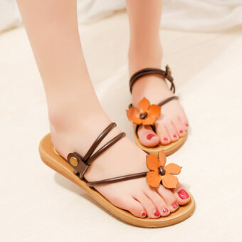 Korean-style solid flat non-slip clip dragged sandals (Brown)