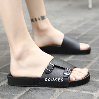 Korean-style summer sandals men's sandals slippers (Black)