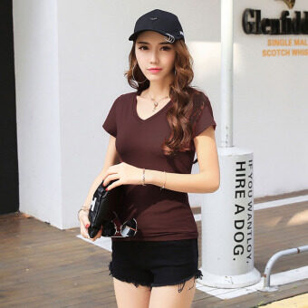 Korean-style white women slim fit bottoming shirt solid color short-sleeved t-shirt (Coffee V-NECK) (Coffee V-NECK)
