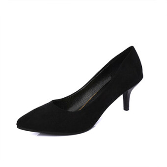 Korean-style Women's Rhinestone-decorated Pointed Toe Square Buckle Suede Stiletto (Black 5cm nude models)