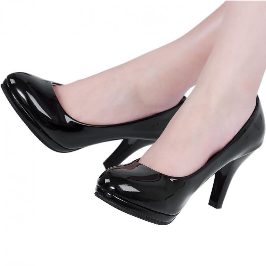 high thin heels shoes pointed toe bottom black